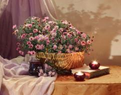 цветы, астры, корзинка, свечи, книга