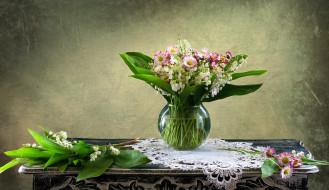 цветы, букеты,  композиции, ландыши, букет, маргаритки