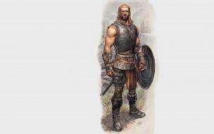 фэнтези, люди, воин, щит, доспех, меч, тату