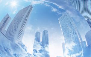 разное, компьютерный дизайн, город, дома, здания, небо, облака
