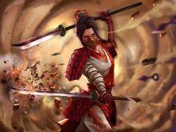 фэнтези, девушки, девушка, фон, кимоно, меч