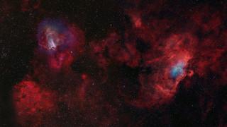 космос, галактики, туманности, орла, и, лебедя