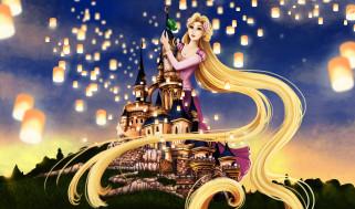 обои для рабочего стола 3840x2263 мультфильмы, tangled, девушка, фон, замок