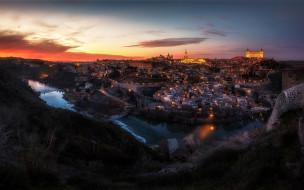 города, толедо , испания, город, панорама, огни, холмы, река