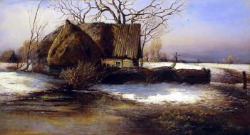 Скоро весна обои для рабочего стола 3840x2080 скоро весна, рисованное, алексей саврасов, хата, изгородь, снег, деревья, лужа