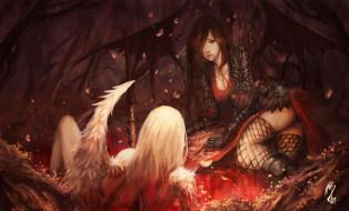 фэнтези, ангелы, девушки, ангел, демон, раны, кровь