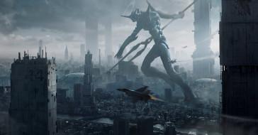 аниме, evangelion, eva, меха, робот, самолеты, город