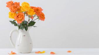 цветы, розы, кувшин, букет