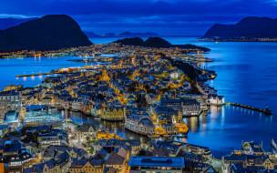 города, олесунн , норвегия, панорама, вечер, огни