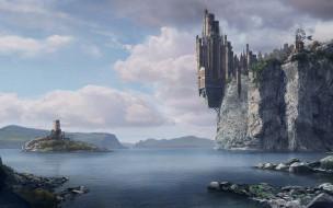 фэнтези, замки, замок, скалы, остров, озеро