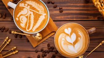 еда, кофе,  кофейные зёрна, ложки, рисунок