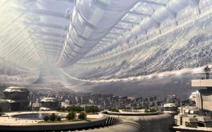 3д графика, архитектура , architecture, город, трубы, будущее