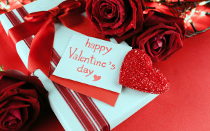 праздничные, день святого валентина,  сердечки,  любовь, розы, сердце, подарок