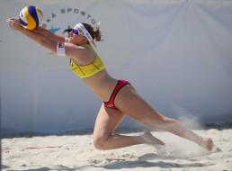 Пляжный, волейбол, спортсменка, мяч, песок