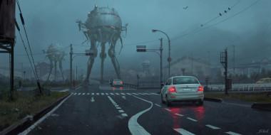 фэнтези, иные миры,  иные времена, город, дороги, машины, роботы