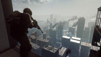 видео игры, battlefield 4, снайпер, винтовка, город, окно, позиция
