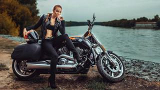 обои для рабочего стола 1920x1080 мотоциклы, мото с девушкой, harley-davidson