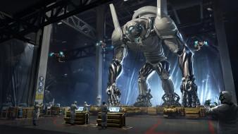 фэнтези, роботы,  киборги,  механизмы, дроны, люди, робот, рабочие