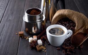 еда, кофе,  кофейные зёрна, сахар, зерна, молотый, корица