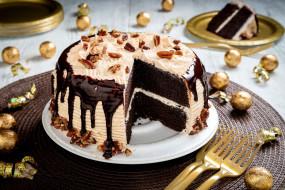 еда, торты, шоколадный, торт, орехи, глазурь