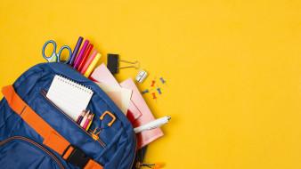 обои для рабочего стола 2560x1440 разное, канцелярия,  книги, рюкзак, блокнот, карандаши, фломастеры