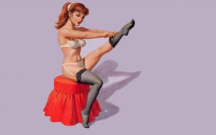 обои для рабочего стола 1920x1200 рисованное, arthur saron sarnoff, девушка, рыжая, белье, чулки, пуфик