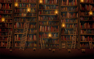 рисованное, vladstudio, библиотека, книги, шкафы, лестницы, свечи, табуретки