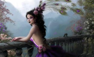 фэнтези, девушки, девушка, цветы, перья, балкон, сад