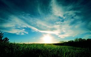 природа, луга, небо, облака, трава, утро