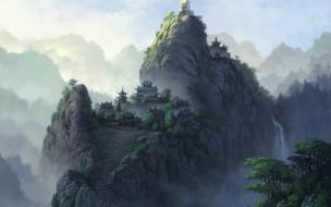 фэнтези, иные миры,  иные времена, горы, туман, деревья, водопад, пагоды