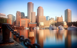 города, бостон , сша, небоскребы