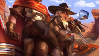 видео игры, overwatch, девушка, фон, взгляд, шляпа