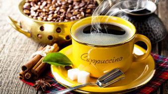 еда, кофе,  кофейные зёрна, корица, пар