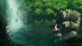 фэнтези, магия, девочка, водопад, озеро, лес, голем