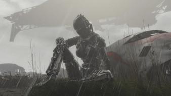 обои для рабочего стола 1920x1080 фэнтези, роботы,  киборги,  механизмы, девушка, киборг, дождь, фюзеляж