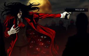 обои для рабочего стола 1920x1200 аниме, hellsing, алукард, alucard, дракула, вампир, шакал, оружие, пистолет, dracula, луна