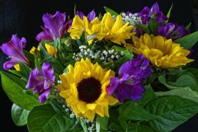 цветы, букеты,  композиции, альстромерия, подсолнухи