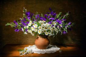 цветы, букеты,  композиции, ромашки, колокольчики