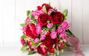 розы, пионы