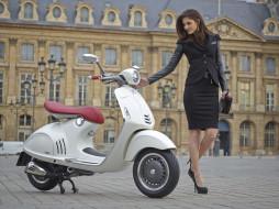 обои для рабочего стола 3543x2655 мотоциклы, мото с девушкой, vespa