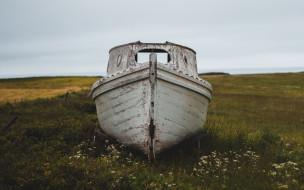 корабли, лодки,  шлюпки, трава, лодка, старая