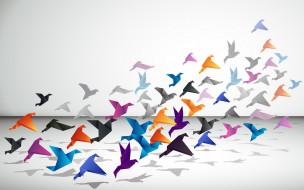векторная графика, другое , other, птицы, оригами, стая, цвета
