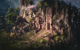 фэнтези, замки, замок, птицы, горы, деревья