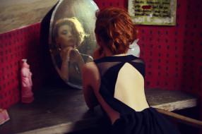 девушки, - рыжеволосые и разноцветные, рыжая, платье, зеркало