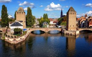 города, страсбург , франция, канал, башни