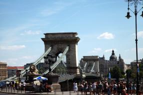 города, будапешт , венгрия, мост, фонари, туристы