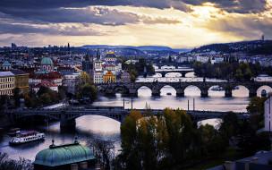 города, прага , чехия, влтава, река, мосты, панорама
