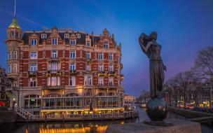 города, амстердам , нидерланды, канал, отель, скульптура, вечер, огни