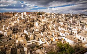 города, - панорамы, матера, базиликата, панорама, утро, старые, дома, городской, вид, италия
