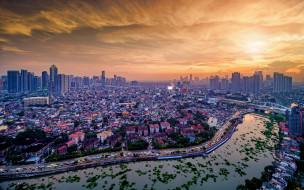 города, - столицы государств, манила, 4k, закат, скайлайн, городской, вид, столица, азия, филиппины
